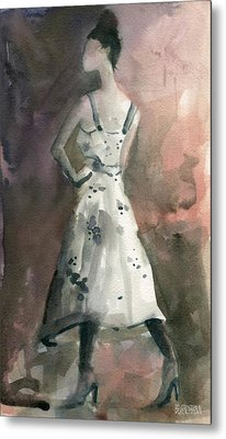 Woman In A White Dotted Dress Fashion Illustration Art Print Metal Print by Beverly Brown