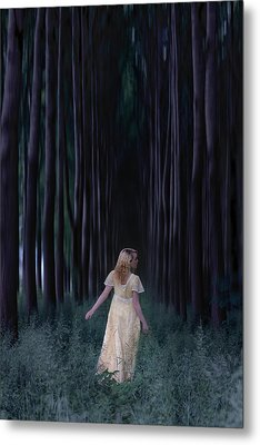 Woman In Forest Metal Print