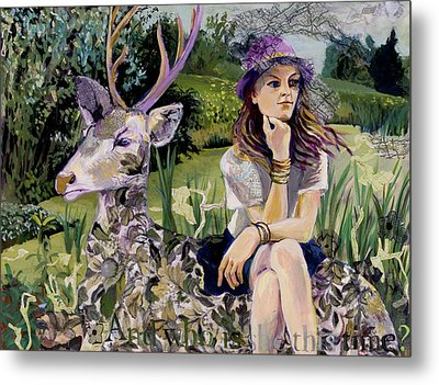 Woman In Hat Dreams With Stag Metal Print by Tilly Strauss