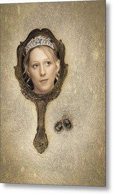 Woman In Mirror Metal Print by Amanda Elwell