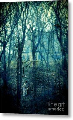 Woman In Nightgown Fleeing From Mansion Metal Print by Jill Battaglia