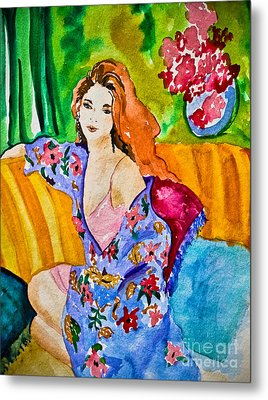 Woman In Silk Kimono Metal Print by Colleen Kammerer