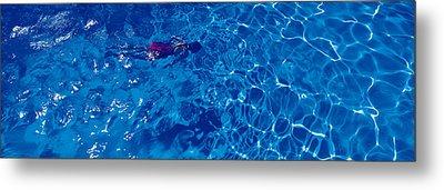 Woman In Swimming Pool Metal Print by Panoramic Images