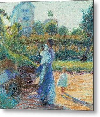 Woman In The Garden Metal Print