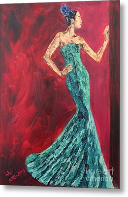 Woman In The Green Gown Metal Print by Lee Ann Newsom