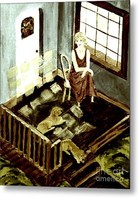 Woman In The Window Metal Print by Denise Tomasura