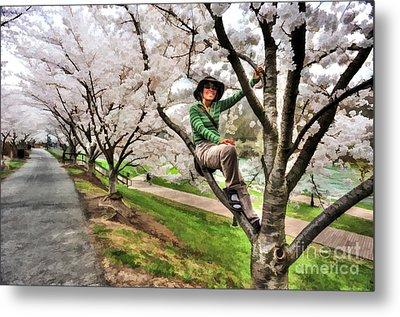 Woman In Tree Metal Print by Dan Friend