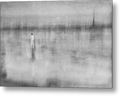 Woman In White At The Beach Metal Print