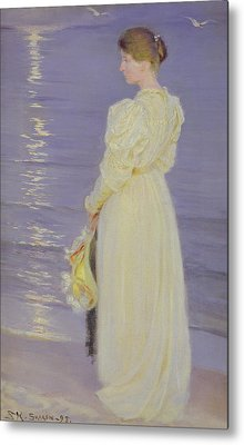 Woman In White On A Beach, 1893 Metal Print by Peder Severin Kroyer