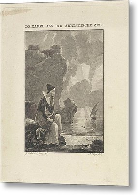 Woman Looking Out Over The Sea, Philippus Vellum Metal Print