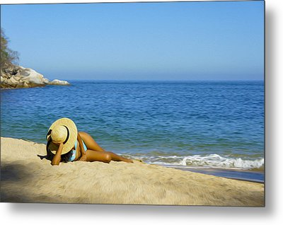 Woman Lying On The Beach Metal Print by Aged Pixel