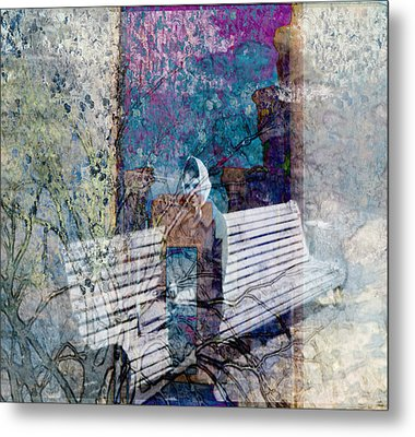 Metal Print featuring the digital art Woman On A Bench by Cathy Anderson