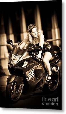 Woman On A Hayabusa Metal Print