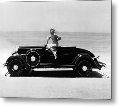 Woman On A Hupmobile Metal Print by Underwood Archives