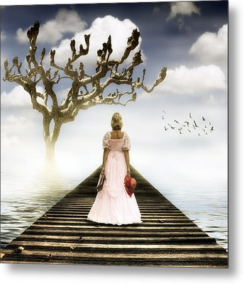 Woman On Pier Metal Print
