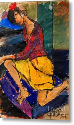 Woman On Purple Pillow - Pia #3 - Figure Series Metal Print by Mona Edulesco