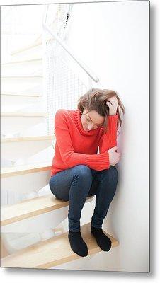 Woman On Staircase Metal Print by Ian Hooton