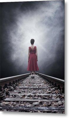 Woman On Tracks Metal Print by Joana Kruse