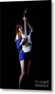 Woman Playing Lead Guitar Metal Print by Craig B