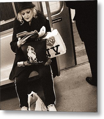 Woman Reading On A Subway With A Marilyn Monroe Purse And An I Love New York Bag, 2004 Bw Photo Metal Print