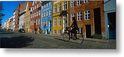 Woman Riding A Bicycle, Copenhagen Metal Print by Panoramic Images