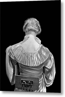 Woman Rubbing Her Neck Metal Print by Underwood Archives