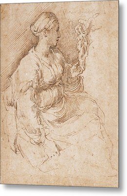 Woman Seated Holding A Statuette Of Victory, C.1524 Pen & Ink On Paper Metal Print by Parmigianino