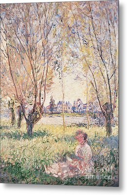 Woman Seated Under The Willows Metal Print by Claude Monet
