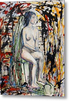 Woman Seated Waiting Among Thorns Metal Print by Brenda Clews