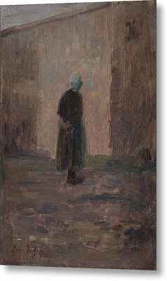 Woman Seen From Behind Standing Before A Wall  Metal Print by Henri Duhem
