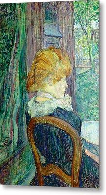 Woman Sitting In A Garden Metal Print by Henri de Toulouse-lautrec