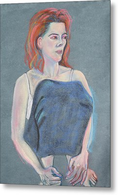 Woman Sitting With Her Skirt Covering Her Legs Metal Print by Asha Carolyn Young