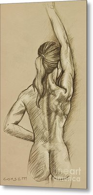 Metal Print featuring the drawing Woman Sketch by Rob Corsetti