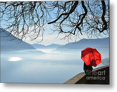 Woman Standing With A Red Umbrella Metal Print by Mats Silvan