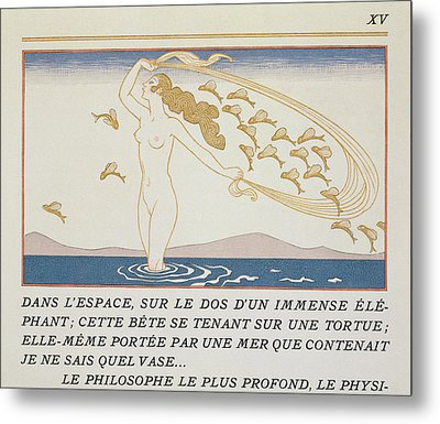 Woman Wading Through Water Metal Print by Georges Barbier