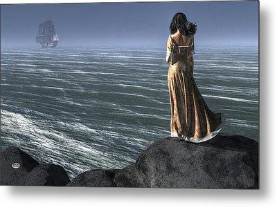 Woman Watching A Ship Sailing Away Metal Print by Daniel Eskridge