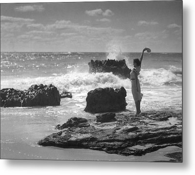 Woman Waving On Shore Metal Print by Underwood Archives