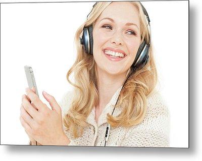 Woman Wearing Headphones With Smartphone Metal Print