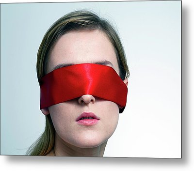Woman Wearing Red Blindfold Metal Print by Victor De Schwanberg