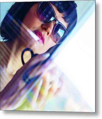 Woman Wearing Sunglasses With Coffee Cup Metal Print