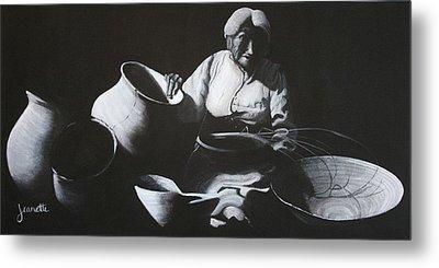 Woman Weaving A Basket Metal Print