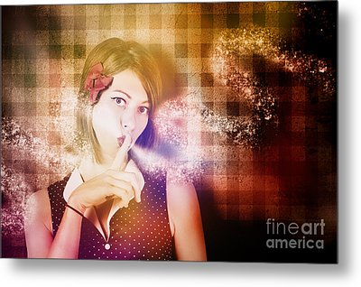 Woman Whispering A Magical Secret Metal Print by Jorgo Photography - Wall Art Gallery