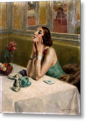 Woman With A Cigarette Metal Print by Henri Thomas