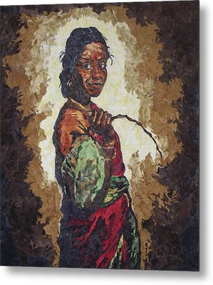 Woman With A Coconut Metal Print by Mihira Karra