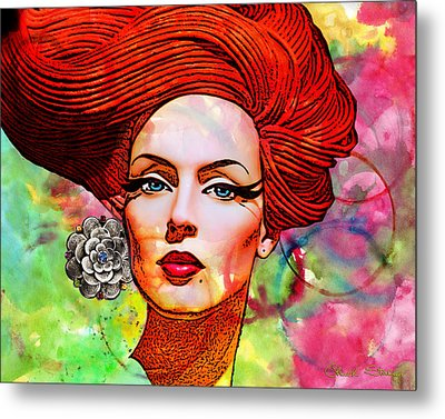 Woman With Earring Metal Print