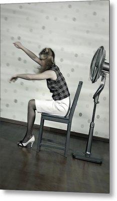 Woman With Fan Metal Print by Joana Kruse