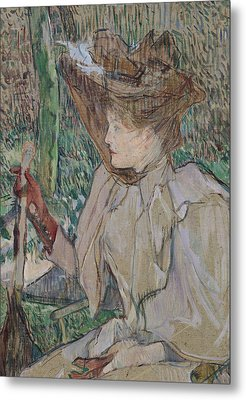 Woman With Gloves Metal Print by Henri de Toulouse-Lautrec