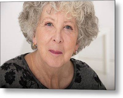 Woman With Grey Hair Metal Print by Lea Paterson