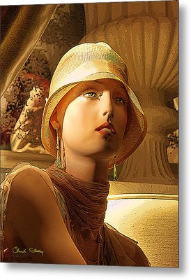Woman With Hat - Chuck Staley Metal Print by Chuck Staley