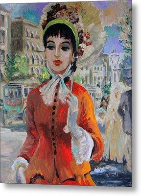 Woman With Parasol In Paris Metal Print
